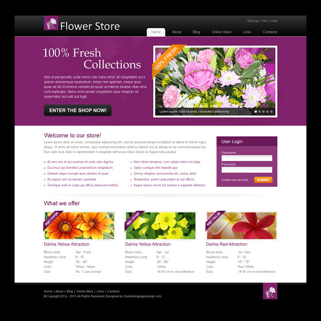 online flower store attractive and creative website template design psd for your online store Website Template PSD example