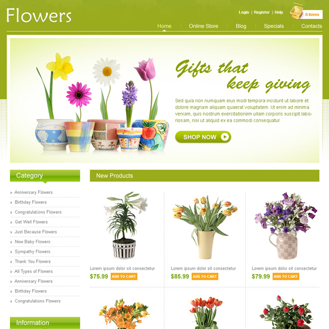 online flower store website design psd for sale Website Template PSD example