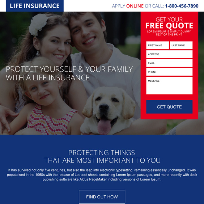 free quote lead capturing landing page design for life insurance Life Insurance example