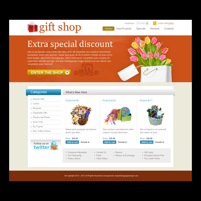 online gift shop creative and effective website template design psd Website Template PSD example