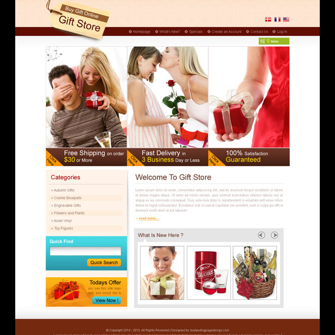 online gift store creative and converting website template design psd Website Template PSD example