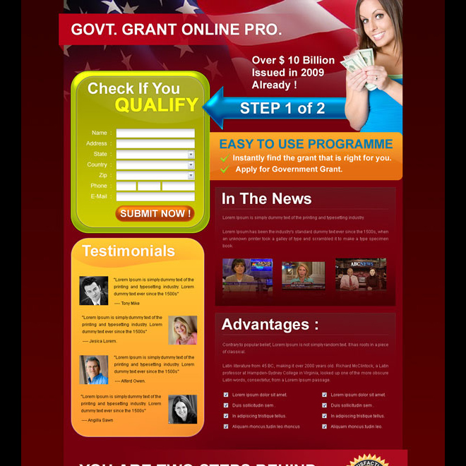 government grants appealing and attractive government grants landing page design for sale Landing Page Design example
