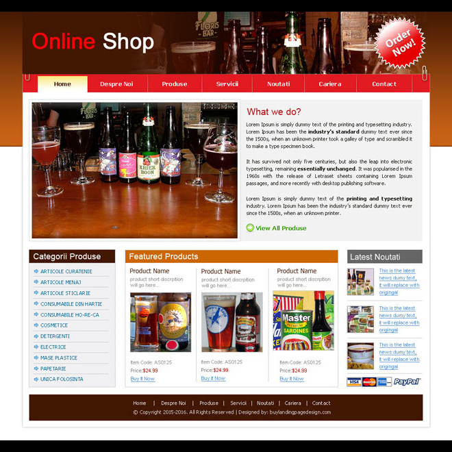 online grocery shop website template design psd for sale Website Template PSD example