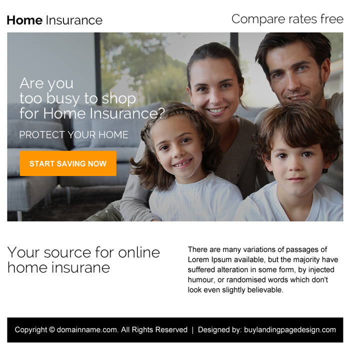 minimal home insurance ppv landing page design Home Insurance example