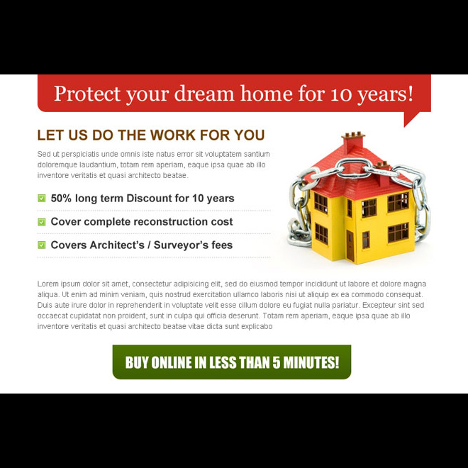 protect your dream home with clean and effective home insurance ppv landing page design Home Insurance example