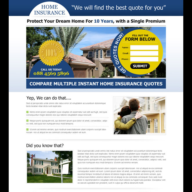instant home insurance quote lead capture squeeze page design Home Insurance example