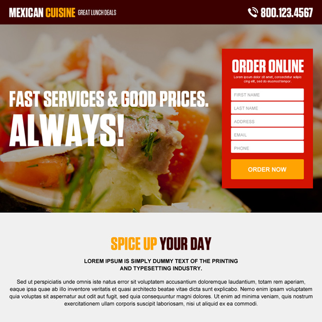 appealing online hotel and restaurant lead generating landing page design Hotel And Restaurant example