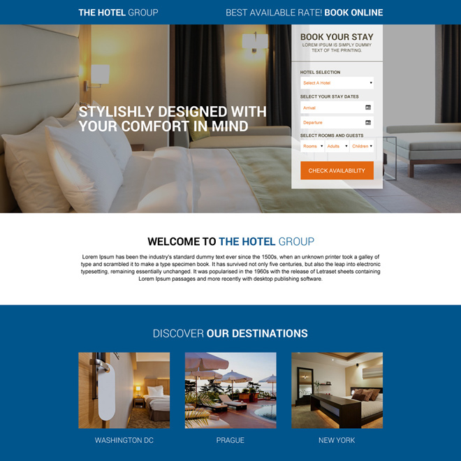 Landing page design templates for lead gen business for Hotel booking design
