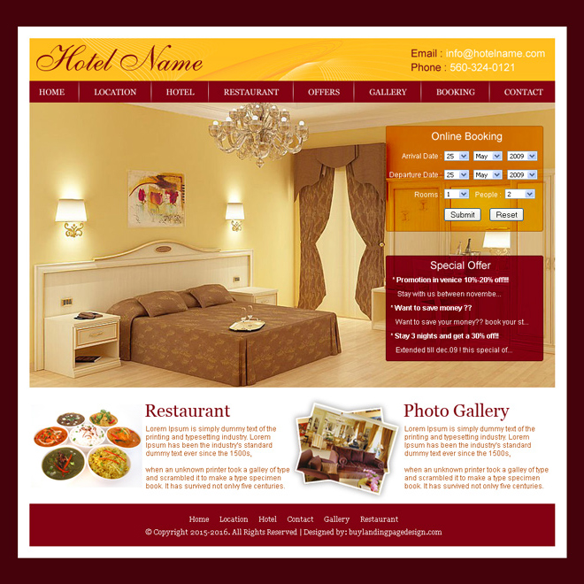 online hotel booking website template design psd for sale Website Template PSD example