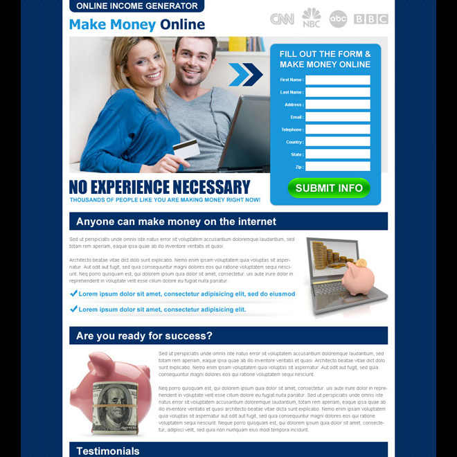 online income generator lead capture landing page template to increase your leads Make Money Online example