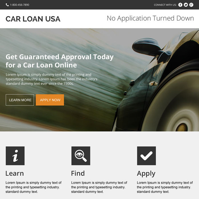 instant car loan approval modern landing page design Auto Financing example