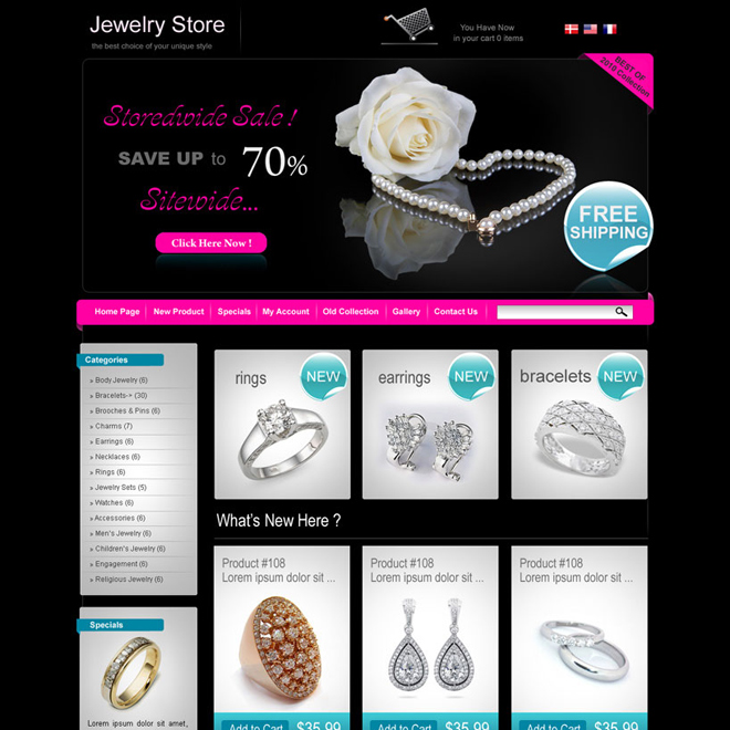 online jewelry store website design template for sale Website Template PSD example