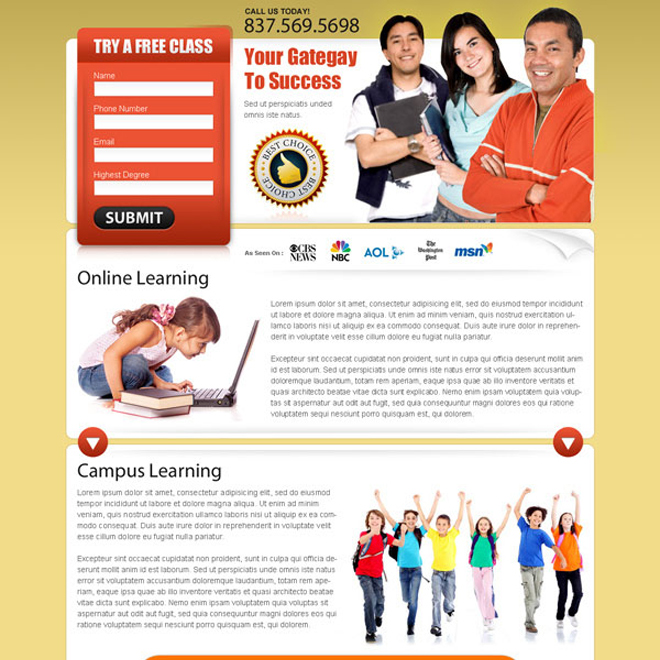 online learning effective lead capture squeeze page design Education example