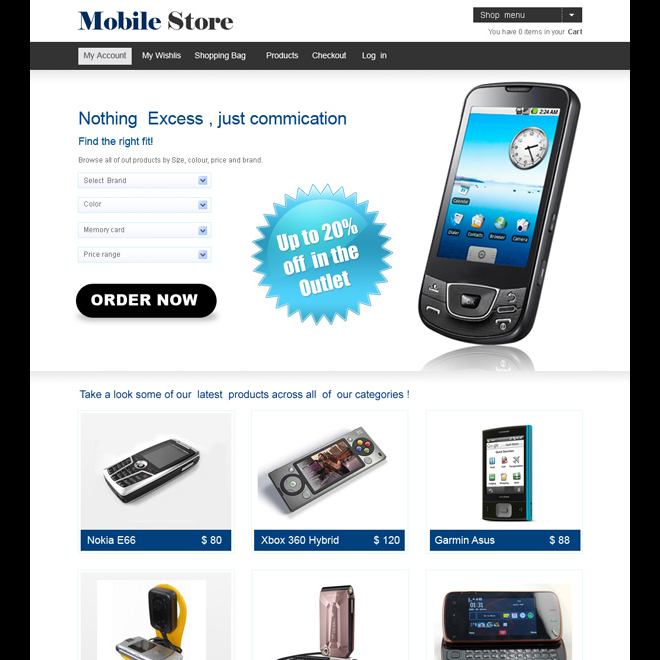 Online mobile store website template design psd for your for Mobili store online
