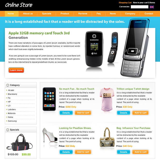 online mobile store website template design psd to create your online store Website Template PSD example