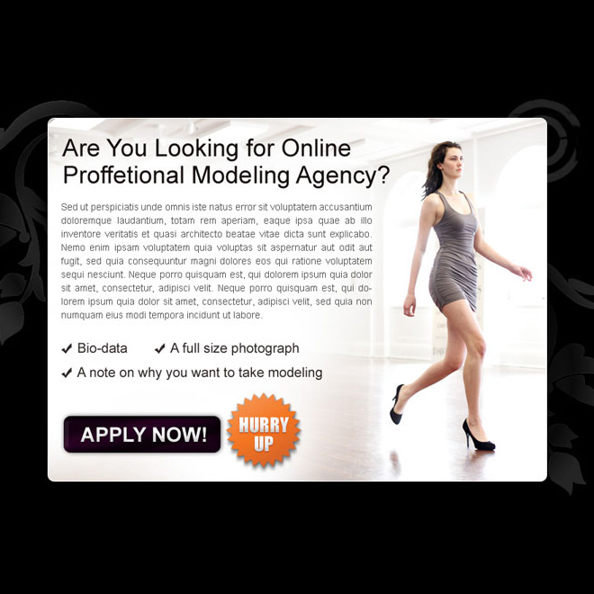 online professional modeling agency clean and most converting call to action ppv landing page design Fashion and Modeling example
