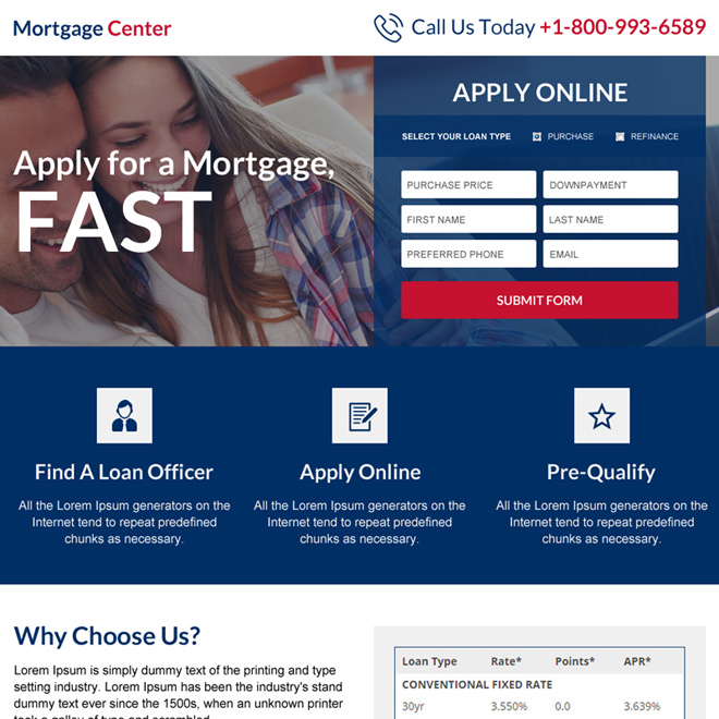 online mortgage center online application mini landing page Mortgage example