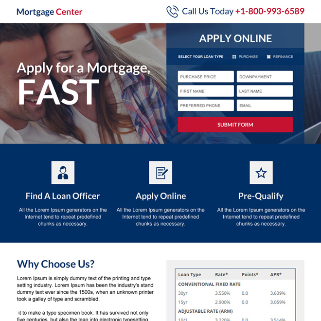 mortgage center responsive landing page design Mortgage example