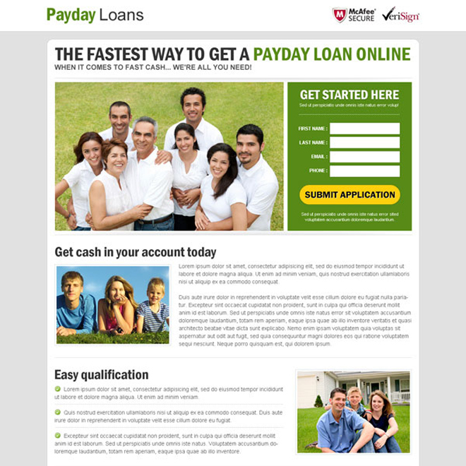 fastest way to get a payday cash loan online responsive landing page design Payday Loan example