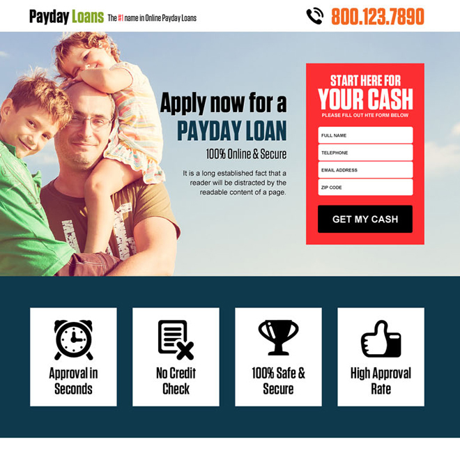 online payday cash loan lead capturing landing page design template Payday Loan example