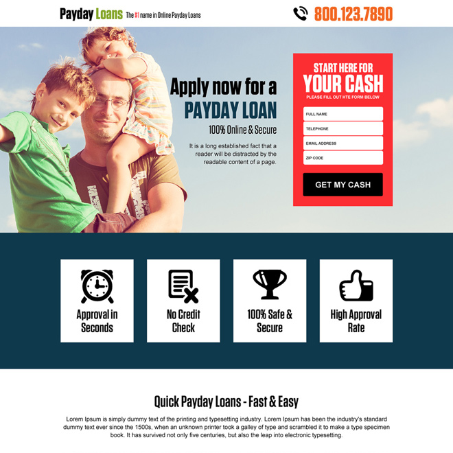 online payday cash loan responsive landing page design Payday Loan example