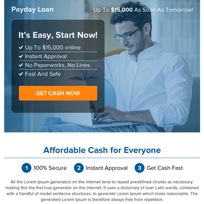 online payday cash loan call to action ppv landing page Payday Loan example
