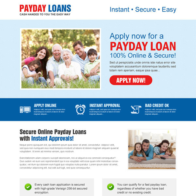 responsive payday loan call to action landing page Payday Loan example