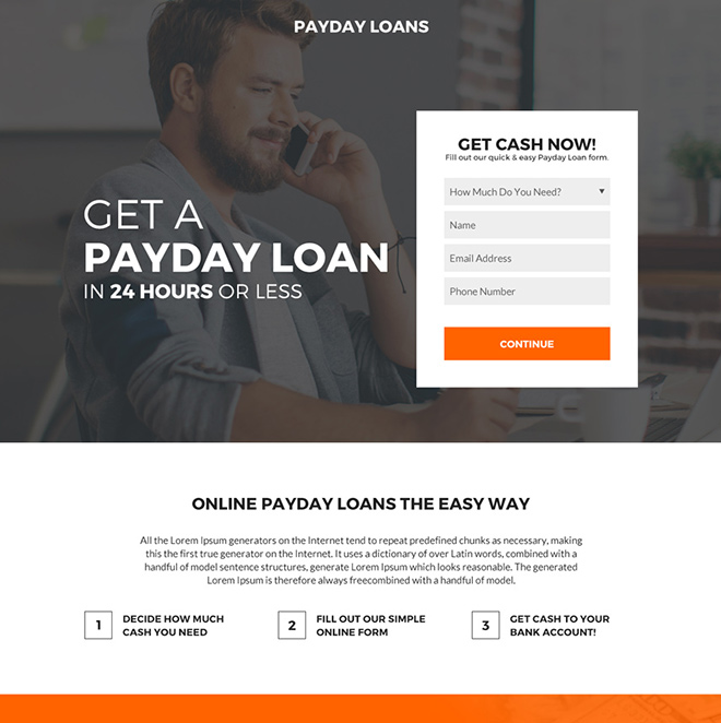 online payday cash loan minimal landing page Payday Loan example
