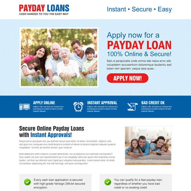 online and secure call to action creative payday loan landing page design template Payday Loan example