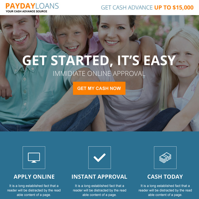 online payday loan instant approval landing page design Payday Loan example