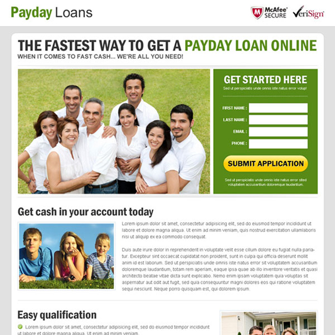 online approved payday loan lead capture landing page design templates Payday Loan example