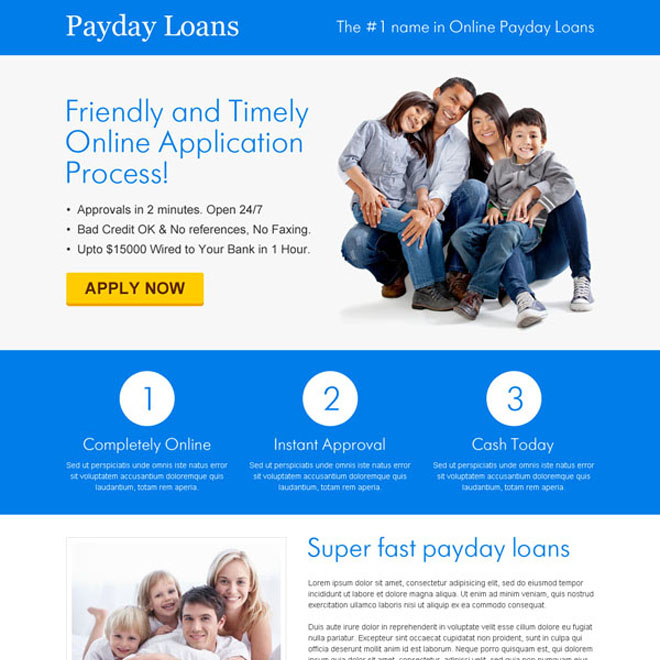 white and blue payday loan responsive lander design Payday Loan example