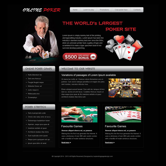 attractive online poker website template design psd to create your converting website Website Template PSD example