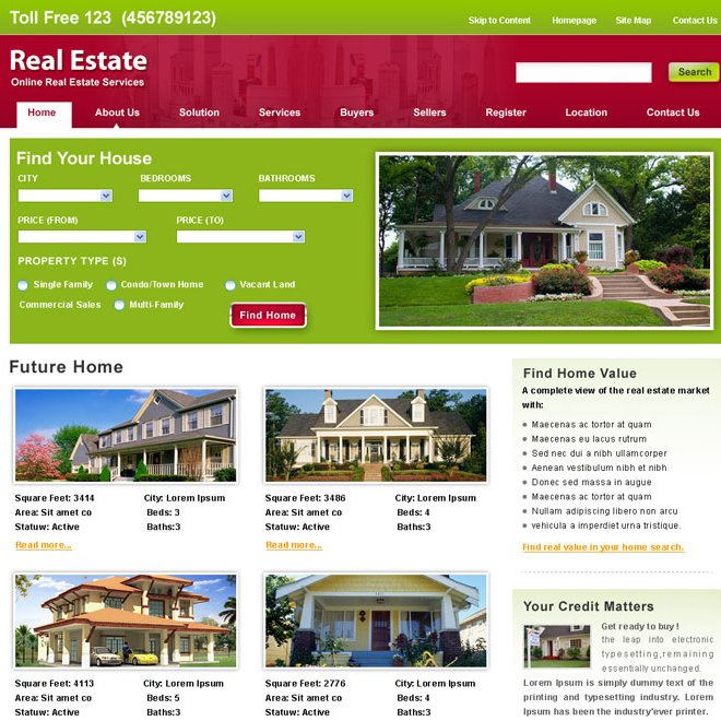 online real estate services website Website Template PSD example