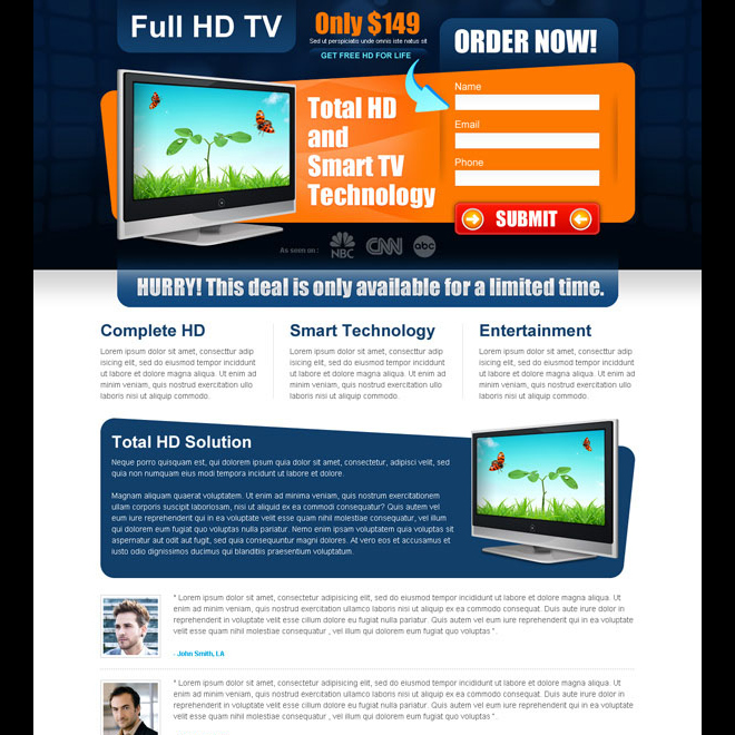 full hd tv impressive and effective landing page design Electronics example