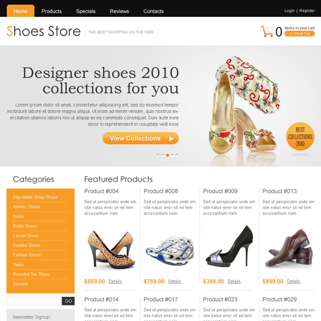 clean online store shoes website template design psd Website Template PSD example