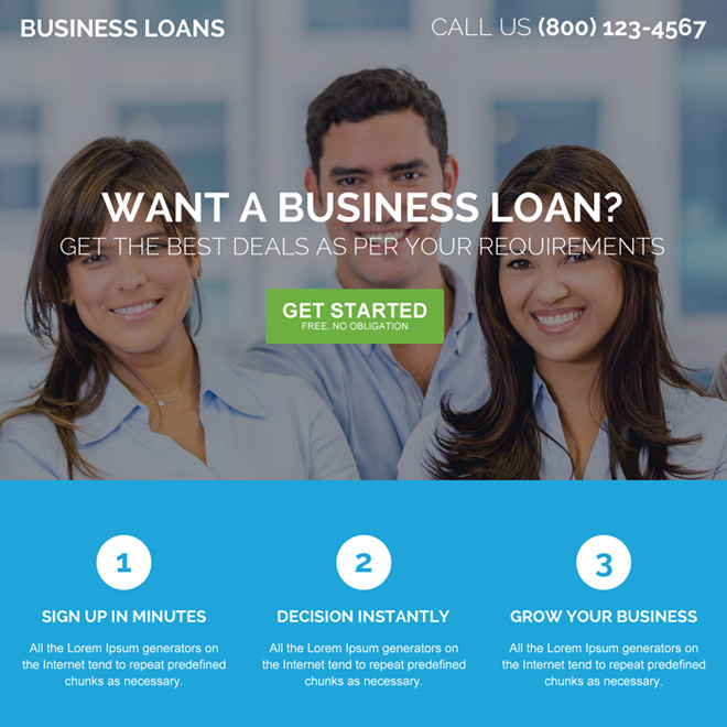 online small business pay per click landing page design Business Loan example