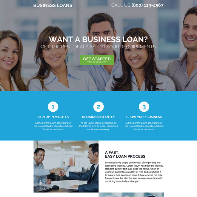 responsive online business startup loan landing page design Business Loan example
