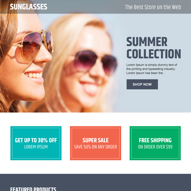 online store converting ecommerce landing page design for sunglasses Ecommerce example
