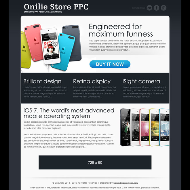 online store ppc call to action landing page for affiliate marketing PPC Landing Pages example