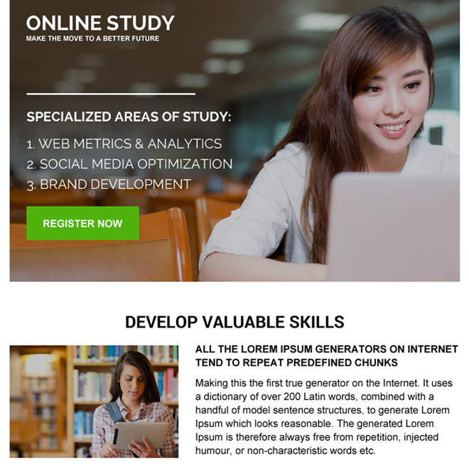 sign up generating online education ppv landing page design Education example