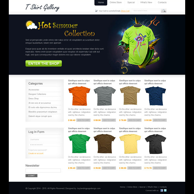 t-shirt clean and attractive online store website template design psd Website Template PSD example
