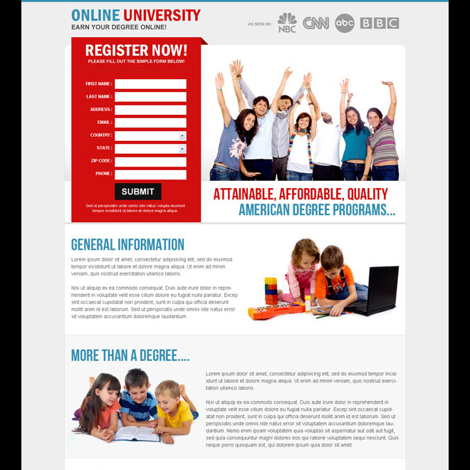 earn degree online clean attractive and most converting lead capture education landing page Education example