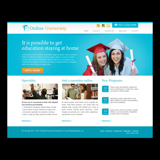 online university call to action website template design psd Website Template PSD example