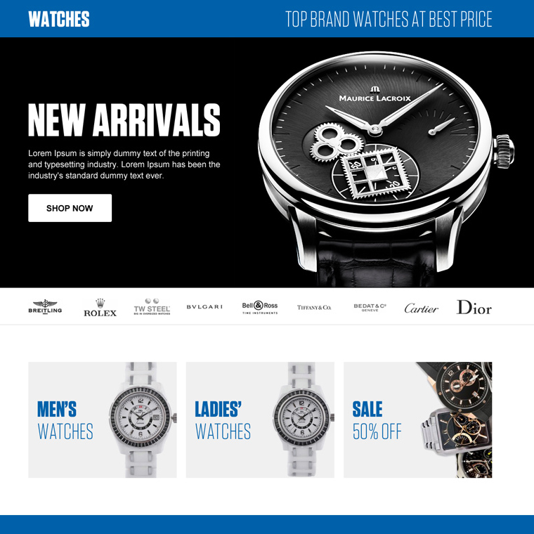 online watch store ecommerce responsive landing page design Ecommerce example