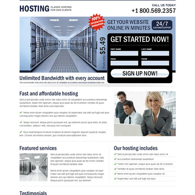 classic hosting unlimited bandwidth clean page design Web Hosting example