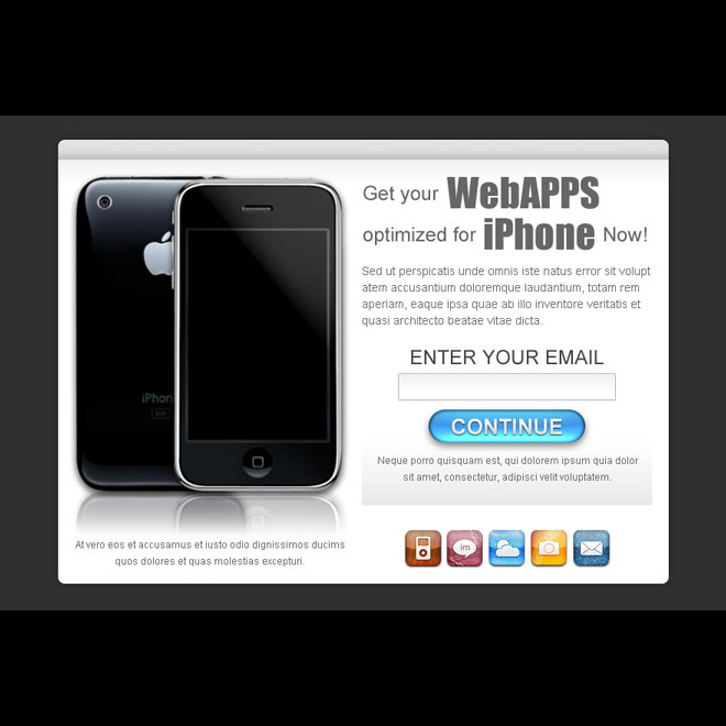online web apps optimized for iphone lead capture ppv landing page design template Miscellaneous example