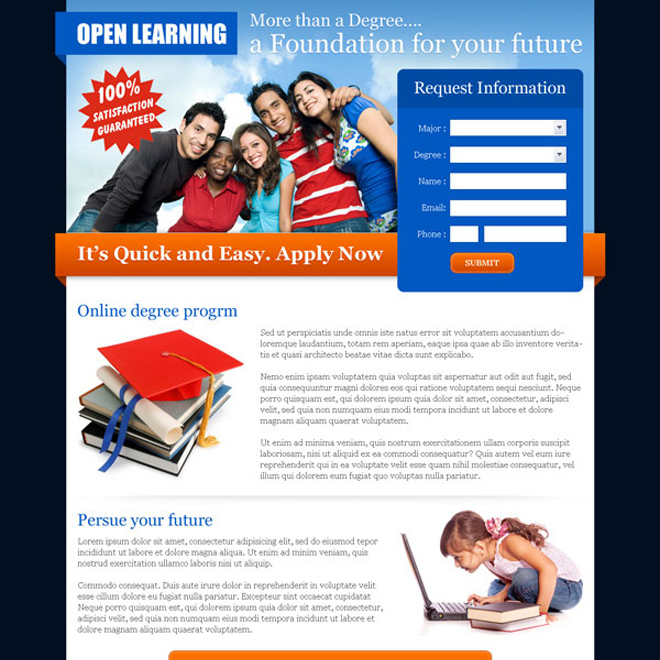 open learning most converting education lead capture page Education example