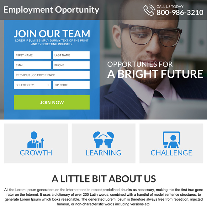 opportunities for a bright future mini landing page Employment Opportunity example