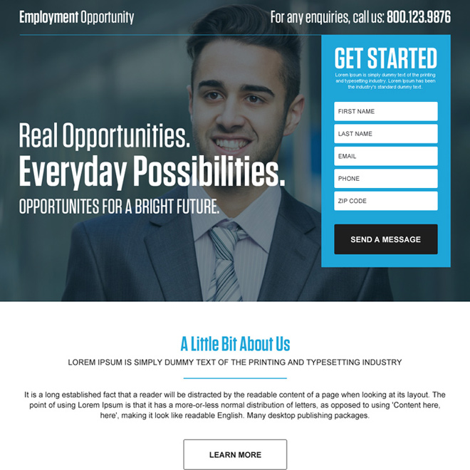 opportunity for bright future leads landing page design Employment Opportunity example